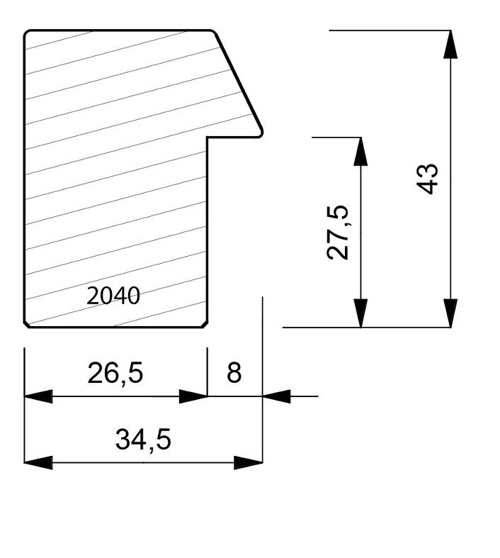 2040 Deep Box Moulding With Bevel Front Edge